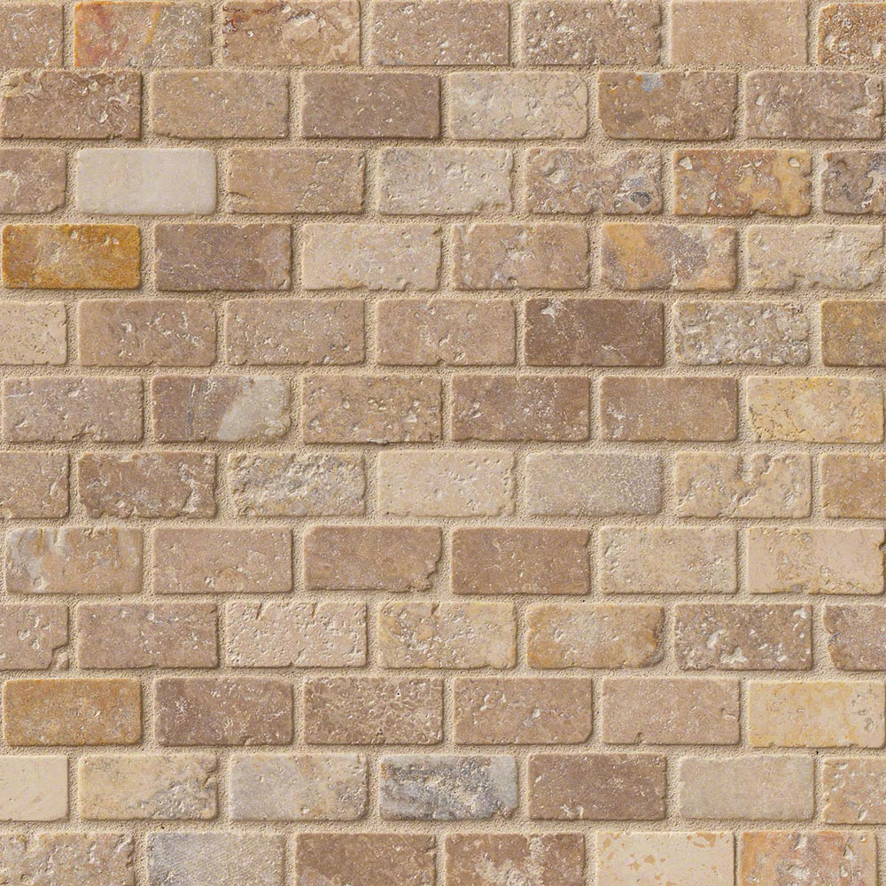 Ms International Travertine Mosaic 1 X 2 Brick Tile
