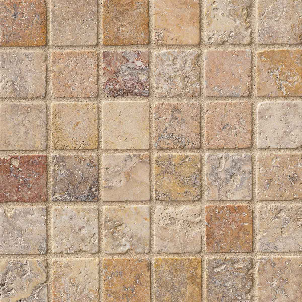 Ms international travertine mosaic 2 x 2 tumbled tile for Tumbled glass tile