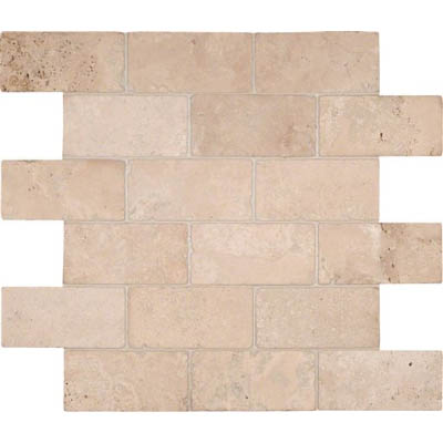 MS International Travertine Mosaic 2 X 4 Brick Tumbled Durango Cream