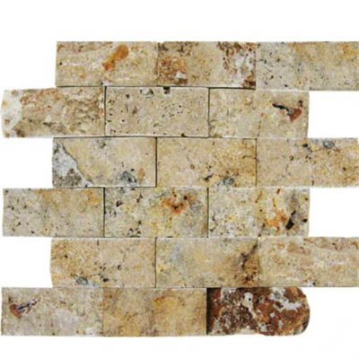 MS International Travertine Mosaic Splitface 2 x 4 Tuscany Scabas