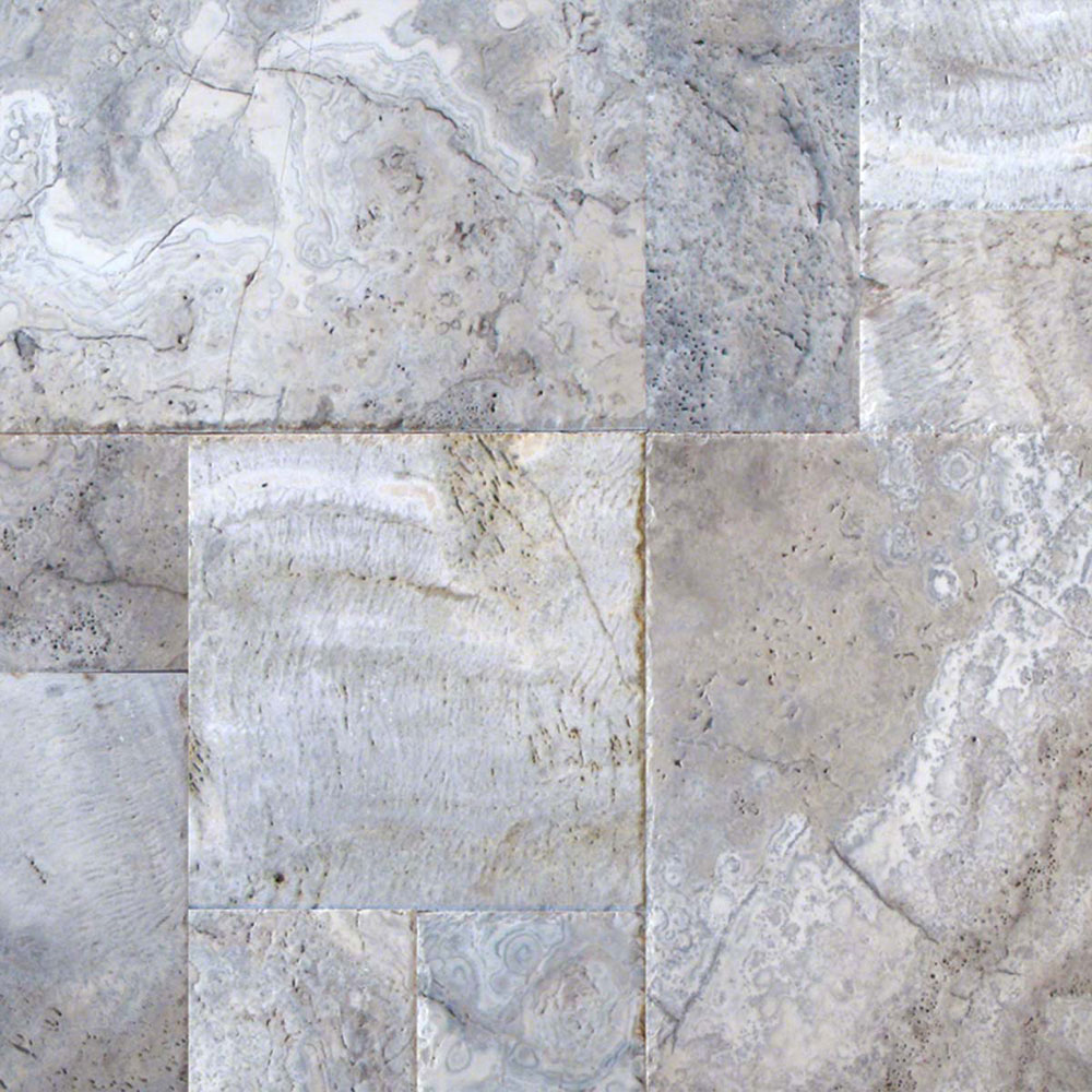 MS International Travertine Versailles Honed Unfilled Chiseled Brushed Silver Travertine