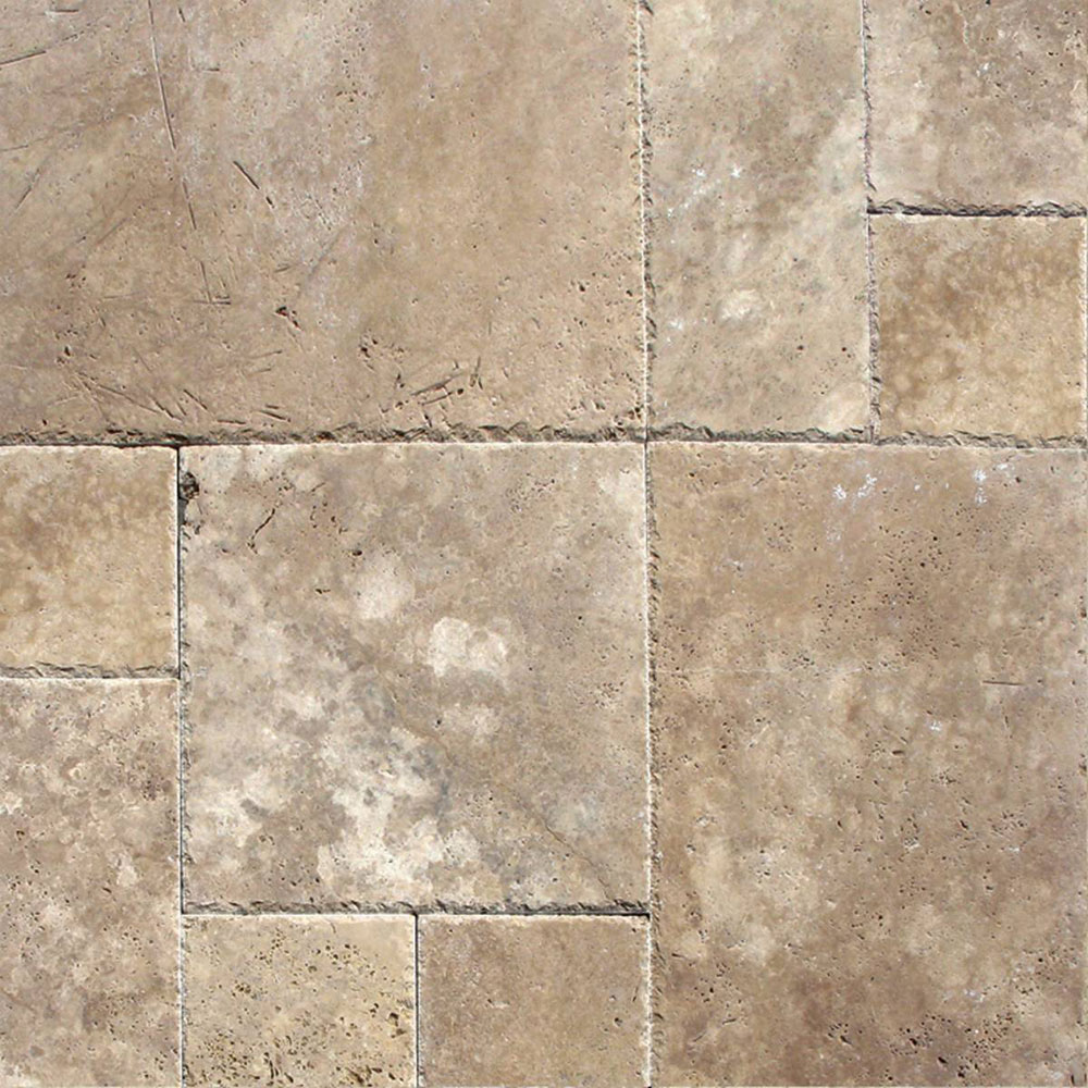 MS International Travertine Versailles Honed Unfilled Chiseled Brushed Tuscany Walnut Versailles
