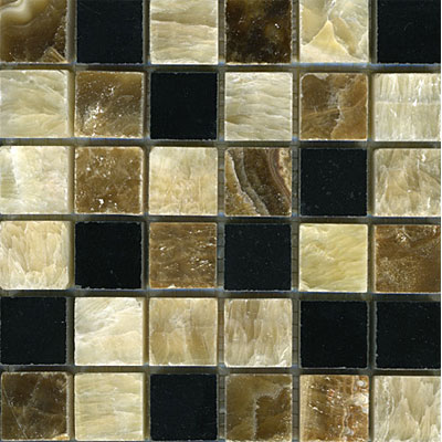 Maestro Mosaics Stone Mosaic 1 x 1 Blend Honey Palace Black Onyx Random