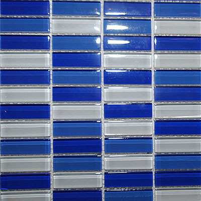 Maestro Mosaics Crystal Glass Blends Mosaic White-Med Blue-Cobalt A018/A033/A200