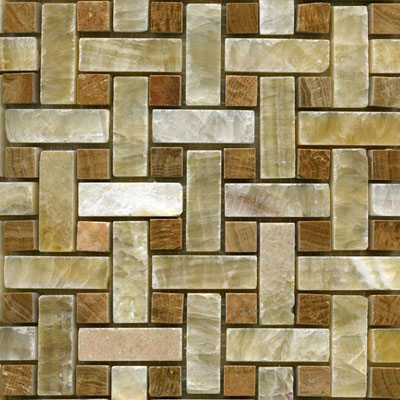 Maestro Mosaics Stone Basketweave Mosaic Honey Onyx Timber