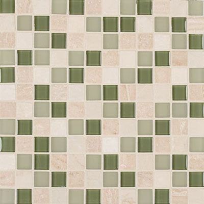 Mannington Accent Gallery Glass & Stone Blends 1 x 1 Mosaic Seagrass Blend A10MMM