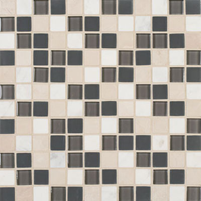Mannington Accent Gallery Glass & Stone Blends 1 x 1 Mosaic Graphite Blend A11MMM