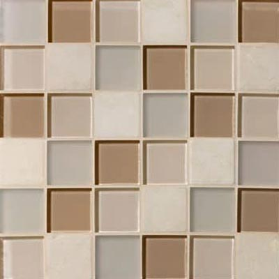 Mannington Accent Gallery Glass & Stone Blends 2 x 2 Mosaic Beige Blend A03MMM