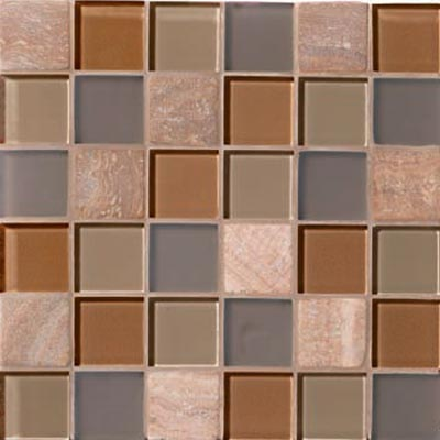 Mannington Accent Gallery Glass & Stone Blends 2 x 2 Mosaic Coral Blend A04MMM