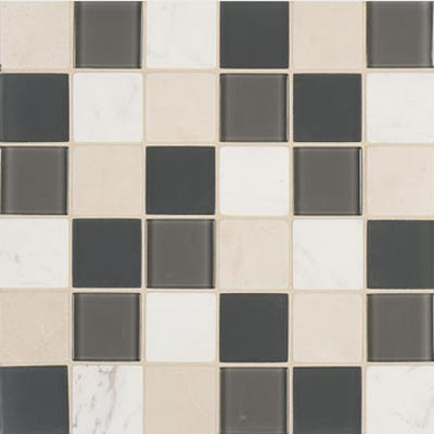 Mannington Accent Gallery Glass & Stone Blends 2 x 2 Mosaic Graphite Blend A13MMM