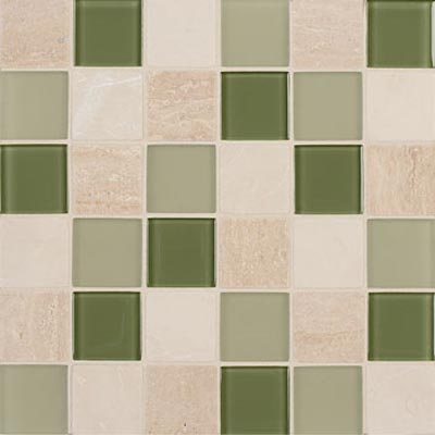 Mannington Accent Gallery Glass & Stone Blends 2 x 2 Mosaic Seagrass Blend A12MMM