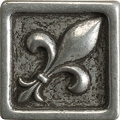 Marazzi Romance Collection Fleur de lis Insert 1 x 1 Nickel UJ89