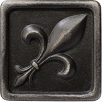 Marazzi Romance Collection Fleur de lis Insert 1 x 1 Wrought Iron UJ9C