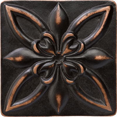 Marazzi Romance Collection Floral Corner 4 x 4 Venetian Bronze UJ7Y