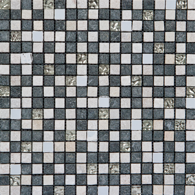 Megatrade Corp. Glass Mosaic Mix 12 x 12 Silver White Gray 3198