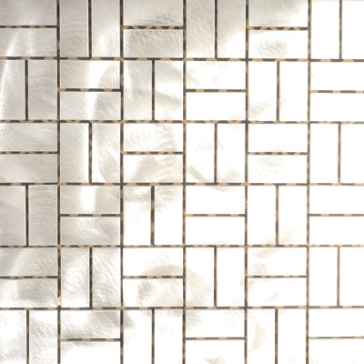 Metal Border Pure Metal Basketweave Mosaic Graffiato/Brushed MTLMBM309BASKET