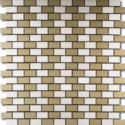 Metal Border Pure Metal Brick Staggered Mosaic 1 x 2 Crema MTLMBM305CREMA