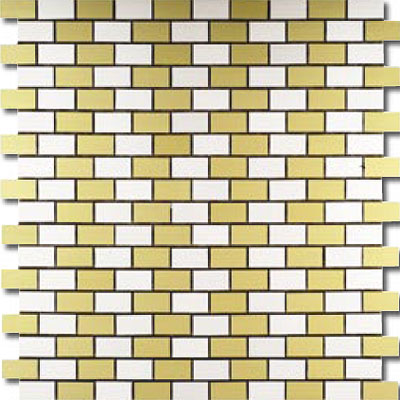 Metal Border Pure Metal Brick Staggered Mosaic 1 x 2 Oro MTLMBM305ORO
