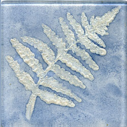Miila Studios Elements Glass Tile 2 x 2 (Discontinued) Fern1 Blue Silver