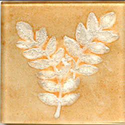 Miila Studios Elements Glass Tile 2 x 2 (Discontinued) Fern2 Apricot Silver