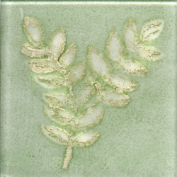 Miila Studios Elements Glass Tile 2 x 2 (Discontinued) Fern2 Green Silver