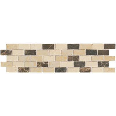Mohawk Accent Statements - Stone (Discontinued) Emperador Crema Gold Brick Joint Pattern Border 5496