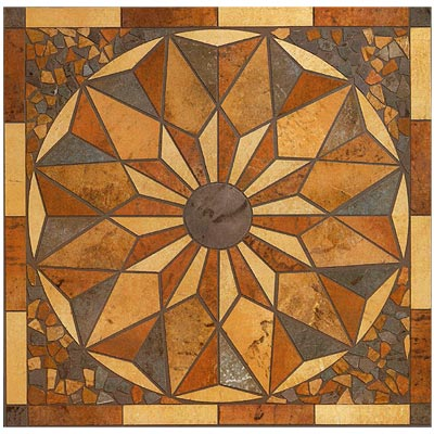 Mohawk Quarry Stone 34 x 34 Multicolor Rosone Medallion 3020
