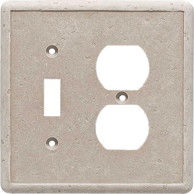Questech Dorset Switch Plates - Travertine Toggle Duplex Combo QUESW10801