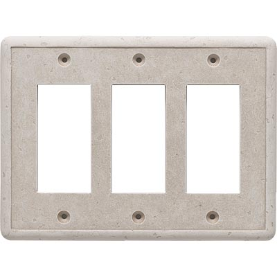 Questech Dorset Switch Plates - Travertine Triple GFCI QUESW10701