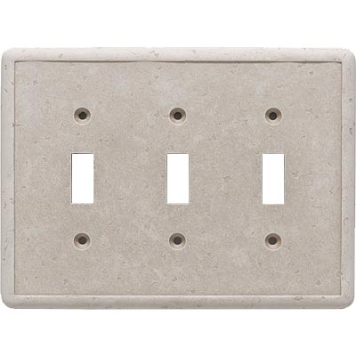Questech Dorset Switch Plates - Travertine Triple Toggle QUESW10601