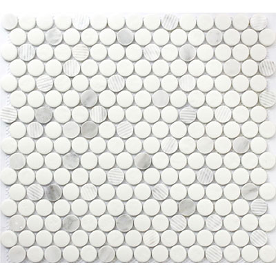 Roca Rock Art Mosaic Penny Round 12 X 12 Carrara