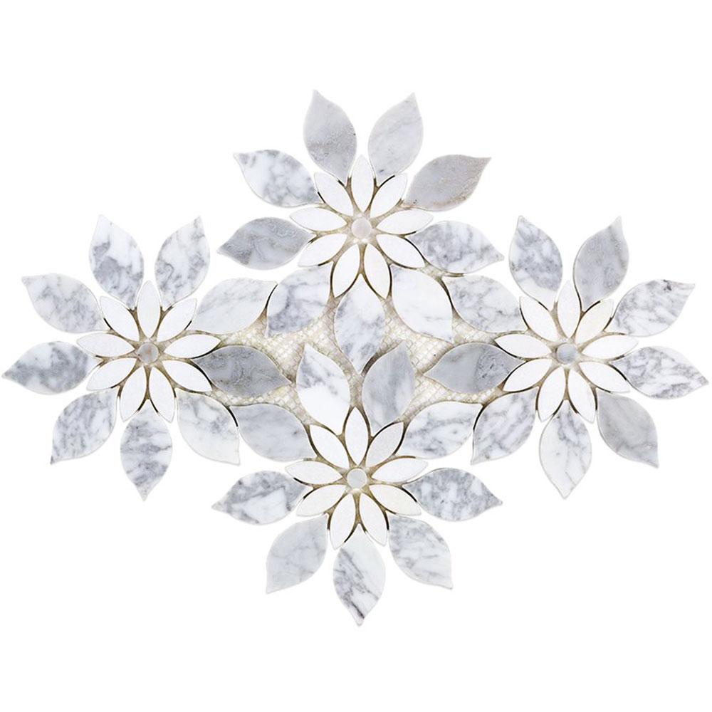 Soho Studio Corp Water Jet Mosaic Mj Rain Flower White