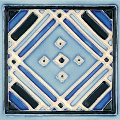 Solistone Hand Painted Mission Deco Tiles 6 x 6 Aztec Blue SOLAZTECBLUE