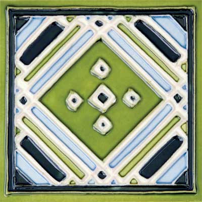 Solistone Hand Painted Mission Deco Tiles 6 x 6 Aztec Green SOLAZTECGREEN