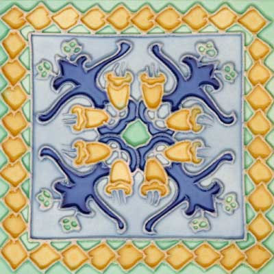 Solistone Hand Painted Mission Deco Tiles 6 x 6 Cabo SOLCABO