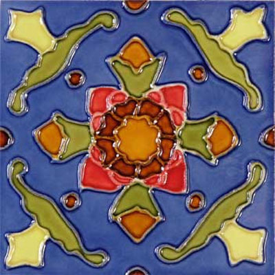 Solistone Hand Painted Mission Deco Tiles 6 x 6 Cactus SOLCACTUS