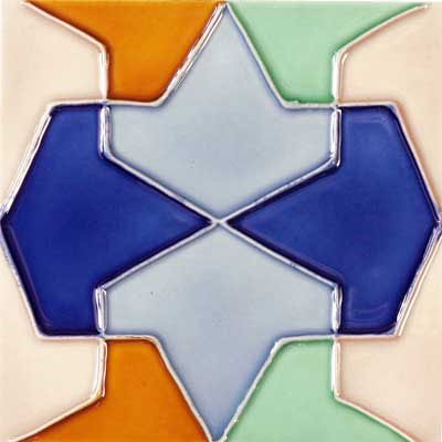 Solistone Hand Painted Mission Deco Tiles 6 x 6 Conos