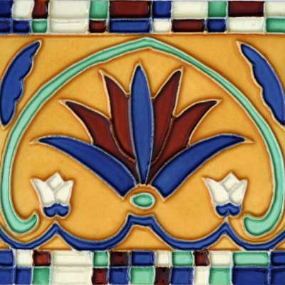 Solistone Hand Painted Mission Deco Tiles 6 x 6 Corona