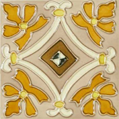 Solistone Hand Painted Mission Deco Tiles 6 x 6 Cortina SOLCORTINA