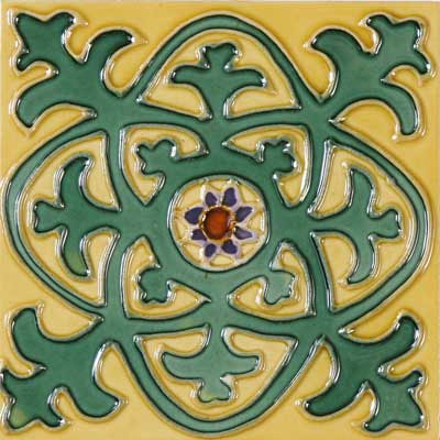Solistone Hand Painted Mission Deco Tiles 6 x 6 Cosmo SOLCOSMO
