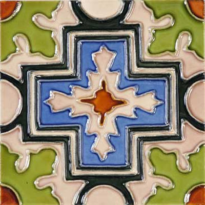 Solistone Hand Painted Mission Deco Tiles 6 x 6 Cruz SOLCRUZ