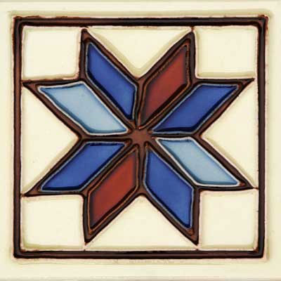 Solistone Hand Painted Mission Deco Tiles 6 x 6 Estrella SOLESTRELLA