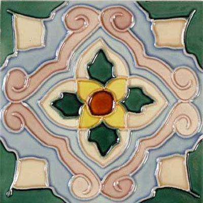 Solistone Hand Painted Mission Deco Tiles 6 x 6 Flor SOLFLOR