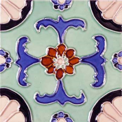 Solistone Hand Painted Mission Deco Tiles 6 x 6 Fuente SOLFUENTE