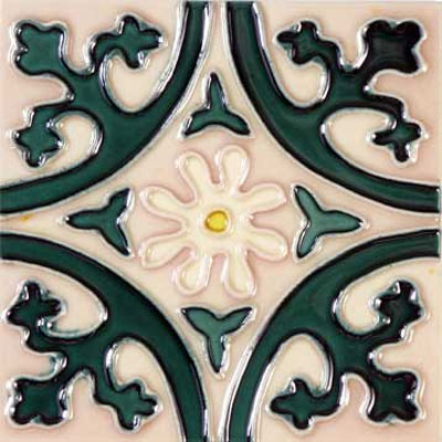 Solistone Hand Painted Mission Deco Tiles 6 x 6 Jardin SOLJARDIN