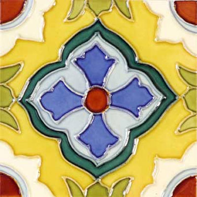 Solistone Hand Painted Mission Deco Tiles 6 x 6 Laguna