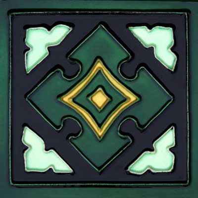 Solistone Hand Painted Mission Deco Tiles 6 x 6 Mayan SOLMAYAN