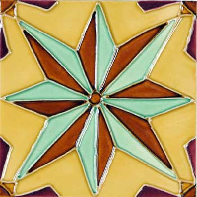 Solistone Hand Painted Mission Deco Tiles 6 x 6 Nova SOLNOVA