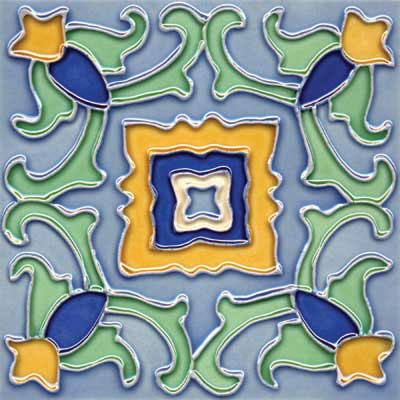 Solistone Hand Painted Mission Deco Tiles 6 x 6 Pastel SOLPASTEL
