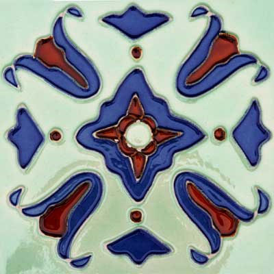 Solistone Hand Painted Mission Deco Tiles 6 x 6 Sante Fe SOLSANTAFE